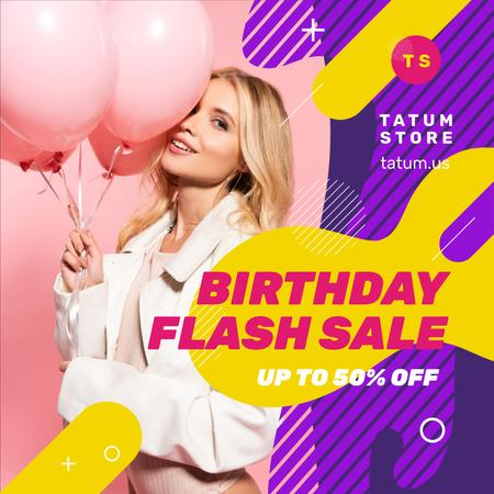 Birthday Fashion Sale Girl with Pink Balloons Instagram Modelo de Design