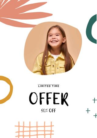Sale announcement with Smiling Girl Poster – шаблон для дизайна