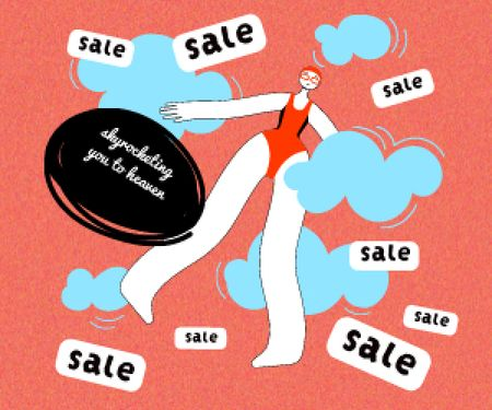 Woman in the sky Happy about Sale Medium Rectangle Design Template