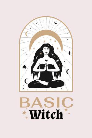 Astrological Inspiration with meditating Witch Tumblr tervezősablon