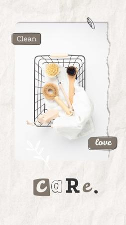 Eco Concept with Wooden Brushes in Basket Instagram Storyデザインテンプレート