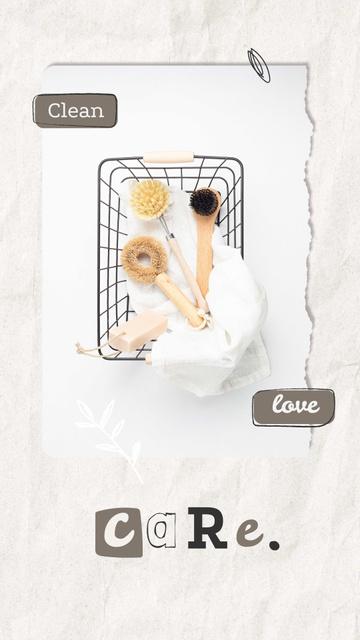 Eco Concept with Wooden Brushes in Basket Instagram Story Modelo de Design