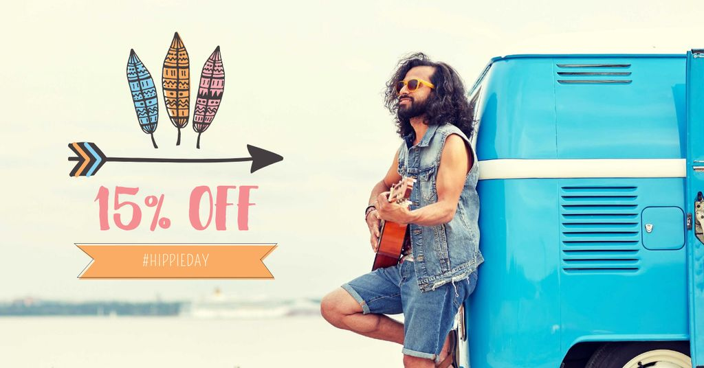 Hippie Day Offer with Man playing Guitar — Create a Design