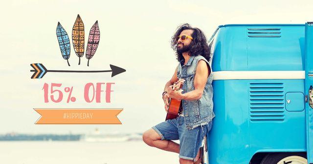Plantilla de diseño de Hippie Day Offer with Man playing Guitar Facebook AD