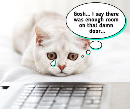 Ontwerpsjabloon van Facebook van Cute Sad White Cat with Tear