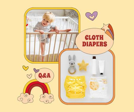 Cloth Diapers Sale Offer with Cute Kid in Cot Facebook Modelo de Design