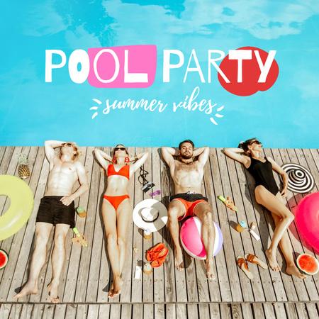 Designvorlage Pool Party Invitation with Friends Sunbathing für Instagram