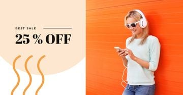 Sale Offer with Woman in Headphones