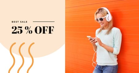 Sale Offer with Woman in Headphones Facebook AD Modelo de Design