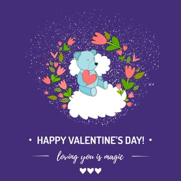 Valentine's Day greeting with Bear in flowers