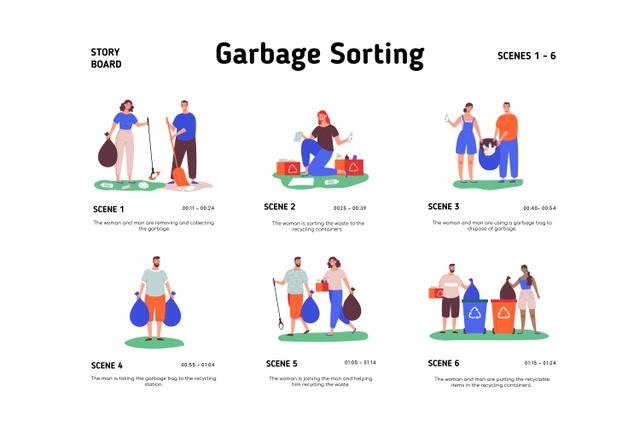 People sorting Garbage Storyboard Modelo de Design