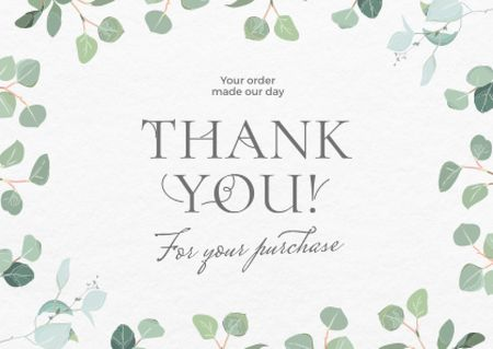 Template di design Thankful Wish with Green Leaves on Branches Card