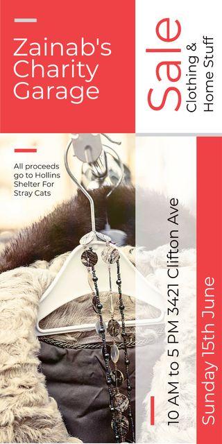 Charity Sale Announcement Clothes on Hangers Graphic Tasarım Şablonu