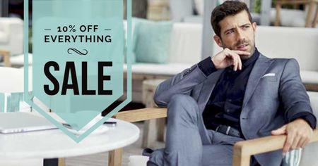 Sale Offer with Stylish Businessman Facebook AD – шаблон для дизайну