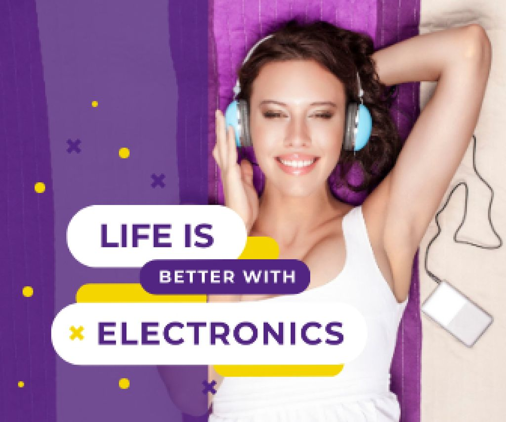 Plantilla de diseño de Woman Listening Music on Smartphone Large Rectangle