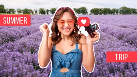 Summer Trip Inspiration with Cute Girl and Lavender Field Youtube Thumbnail – шаблон для дизайну