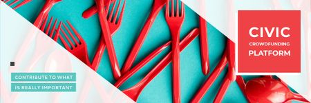 Crowdfunding Platform with Red Plastic Tableware Email header – шаблон для дизайна