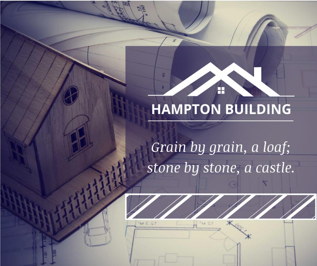 Building Company Ad Architectural Prints on table — Modelo de projeto