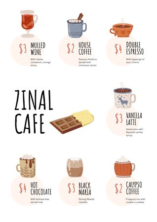 Plantilla de diseño de Cafe promotion with hot Drinks Menu