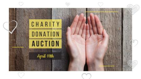 Charity Donation Ad with Open Palms FB event cover Design Template