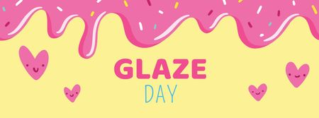 Plantilla de diseño de Glaze Day Announcement with Pink Hearts Facebook cover