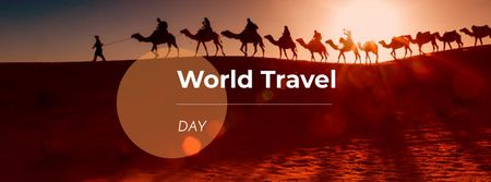 Modèle de visuel World Travel Day Announcement with People on Camels - Facebook cover