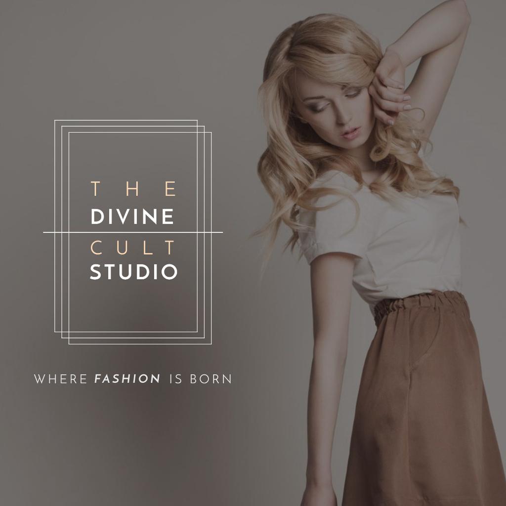 Fashion Studio Ad Blonde Woman in Casual Clothes Instagram AD – шаблон для дизайна