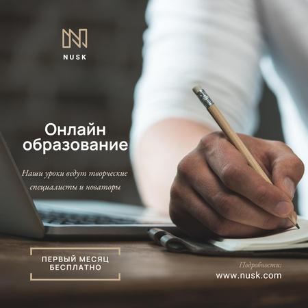 Man makes Notes with a Pencil Instagram – шаблон для дизайна