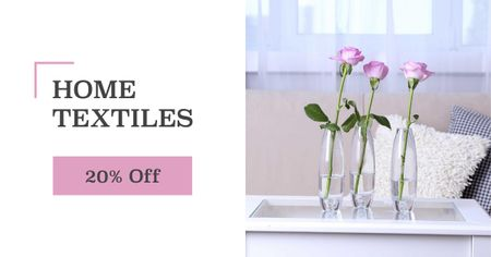 Home textiles sale roses in Interior Facebook AD Modelo de Design