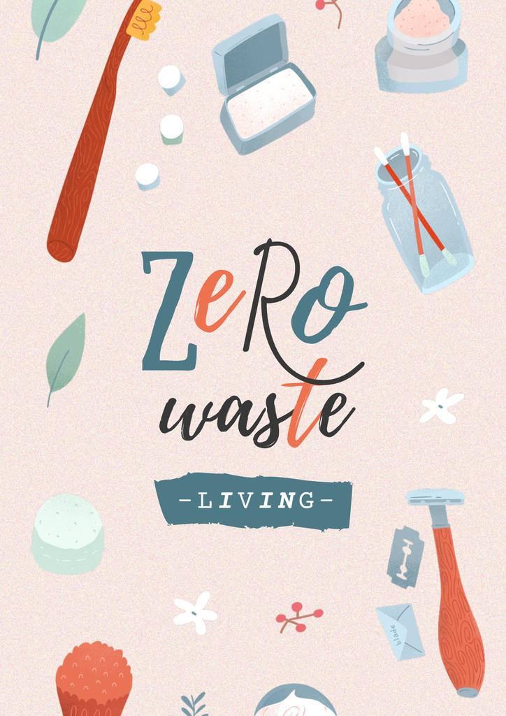 Zero Waste Concept with Eco Products Posterデザインテンプレート