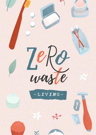 Modèle de visuel Zero Waste Concept with Eco Products - Poster