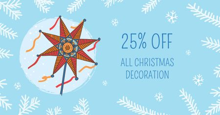 Plantilla de diseño de Christmas Decoration with Festive Star Facebook AD