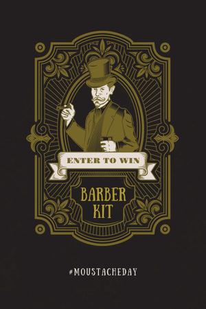 Ontwerpsjabloon van Pinterest van Moustache day with Vintage Bearded Barber