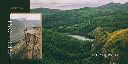 Hiker enjoying view from the rock Image tervezősablon