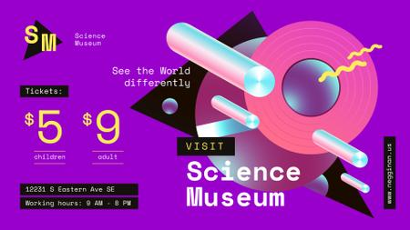 Designvorlage Science Museum invitation Digital Pattern in Purple für FB event cover
