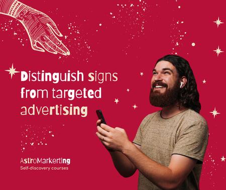 Modèle de visuel Marketing Agency Services Ad with Smiling Guy - Facebook