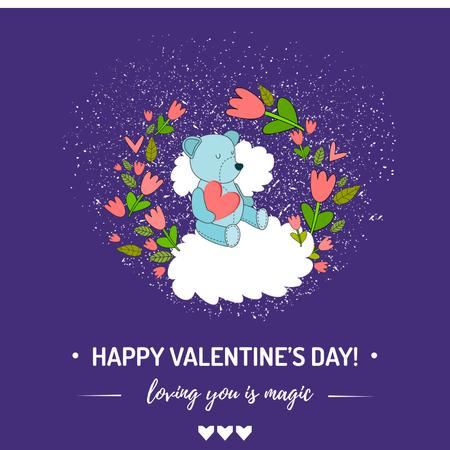 Valentine's Day greeting with Bear in flowers Instagram AD – шаблон для дизайна