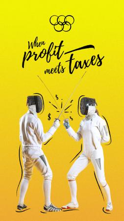 Profit and Taxes as fighting fencers Instagram Story Modelo de Design