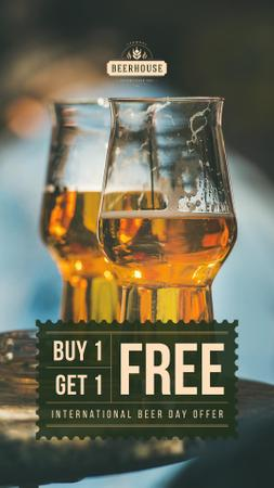Template di design Beer Day Offer Keg Lager in Glasses Instagram Story