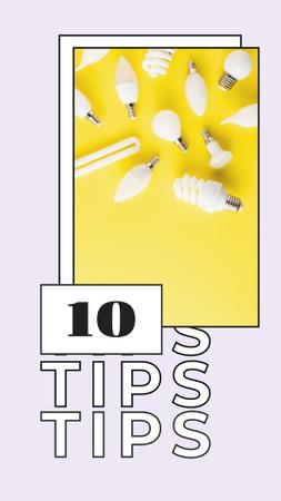 Modèle de visuel Tips Ad with Lightbulbs - Instagram Story