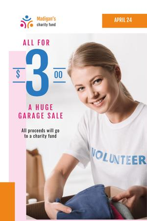 Charity Sale Announcement with Volunteer and Clothes Pinterest Design Template