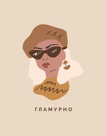 Stylish Blonde Woman in Sunglasses T-Shirt – шаблон для дизайна