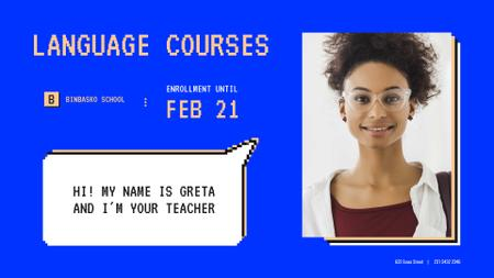 Designvorlage Language Courses Offer with Smiling Female Teacher für Full HD video