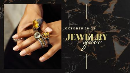 Woman in Rings with Rare Gemstones FB event cover – шаблон для дизайну
