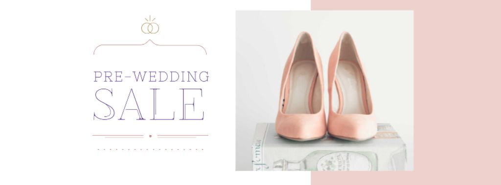 Modèle de visuel Pre-Wedding Sale Announcement with Female Shoes - Facebook cover