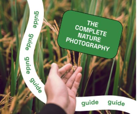 Photography Guide with Hand in Wheat Field Medium Rectangle Modelo de Design