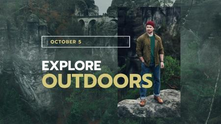 Outdoor Clothes Ad handsome Man on Cliff FB event cover – шаблон для дизайну