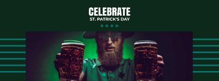 St.Patrick's Day Celebration with Man holding Beer Facebook cover Modelo de Design
