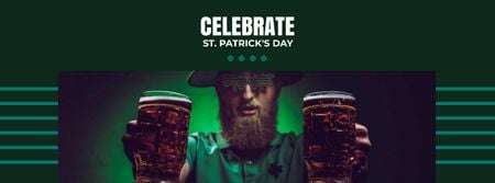 St.Patrick's Day Celebration with Man holding Beer Facebook coverデザインテンプレート