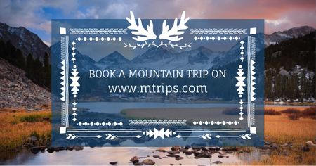 Plantilla de diseño de Mountain hike trip announcement Facebook AD